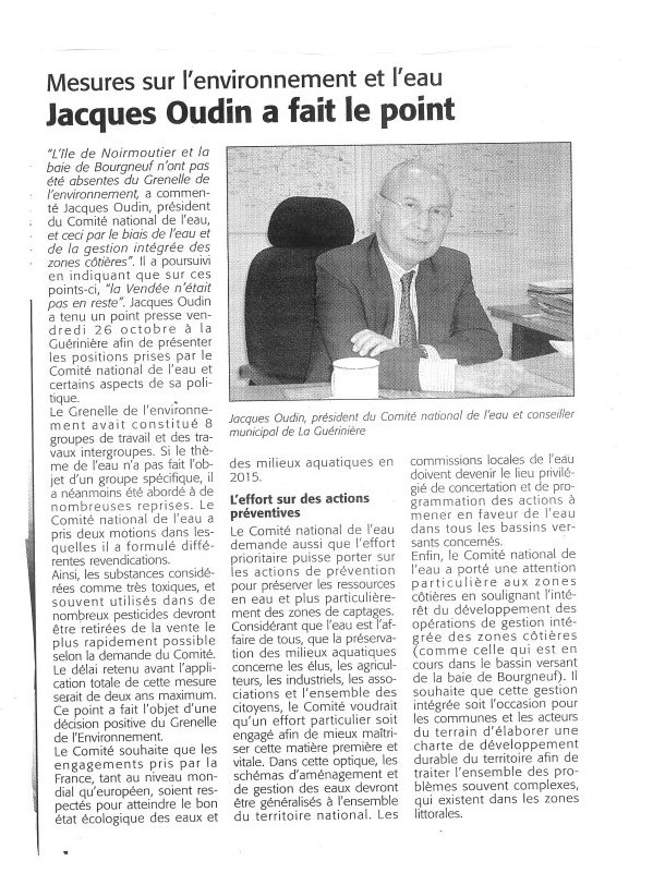 jacques oudin fait le point