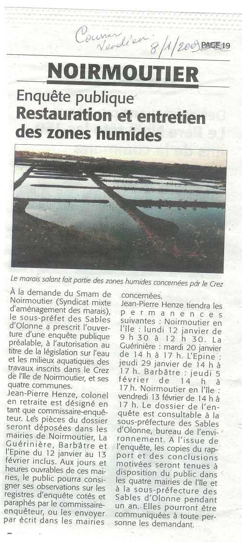 Courrier vendéen 8/1/2009