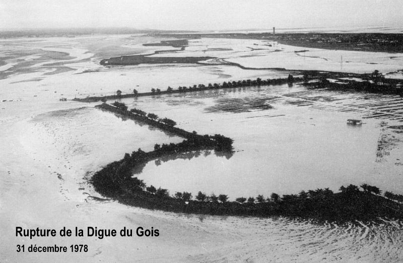 Après la rupture de la digue près du Gois le 31 décembre 1978