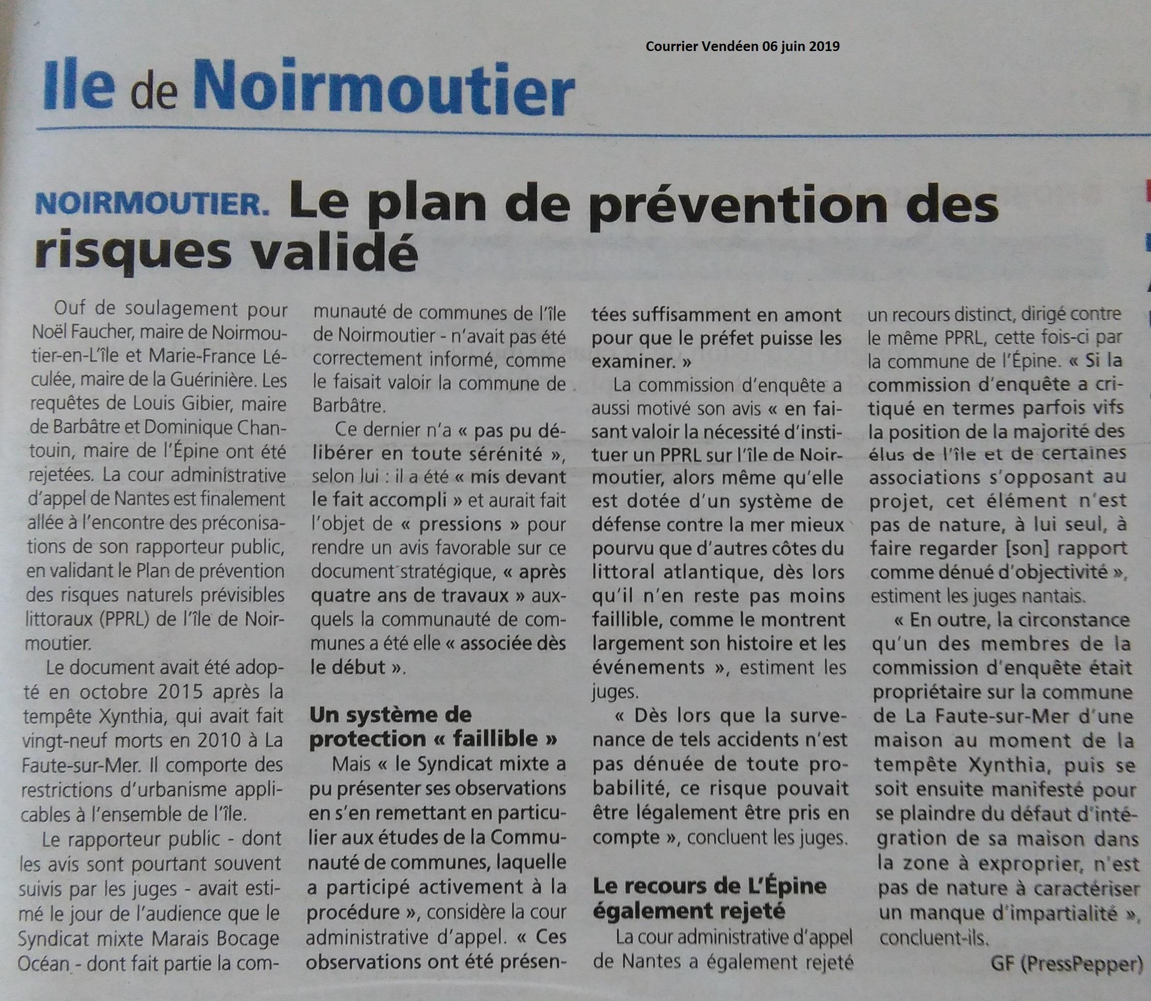 PPRL Courrier Vendéen 06.06.2019
