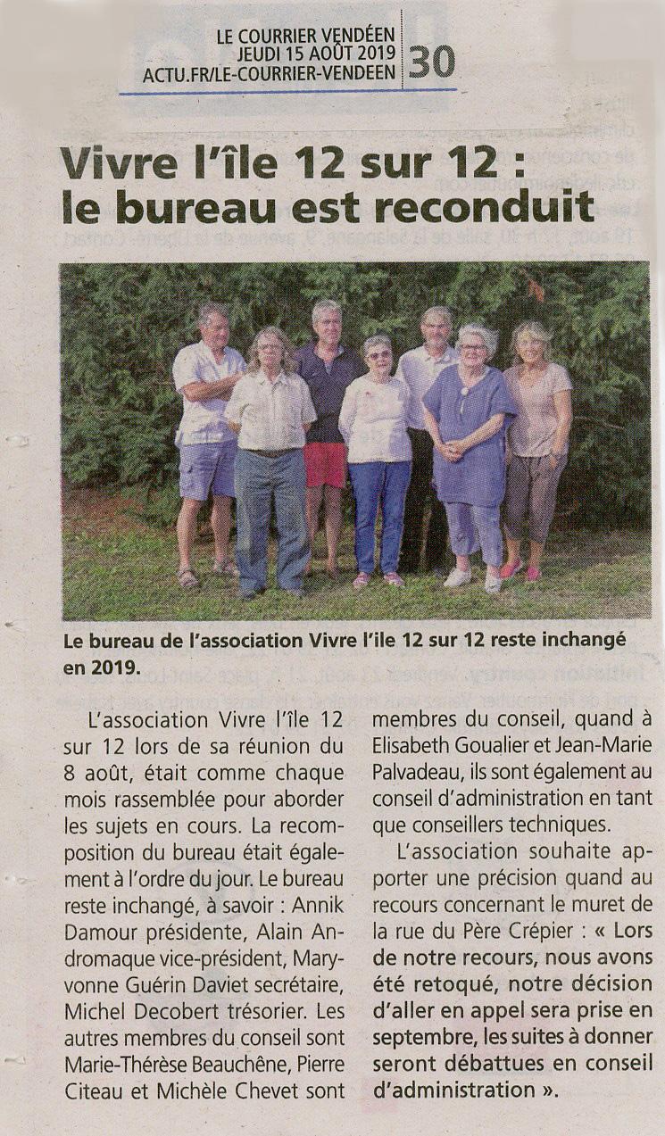 Courrier Vendéen du 15.08.19 Bureau de Vivre l'Ile.