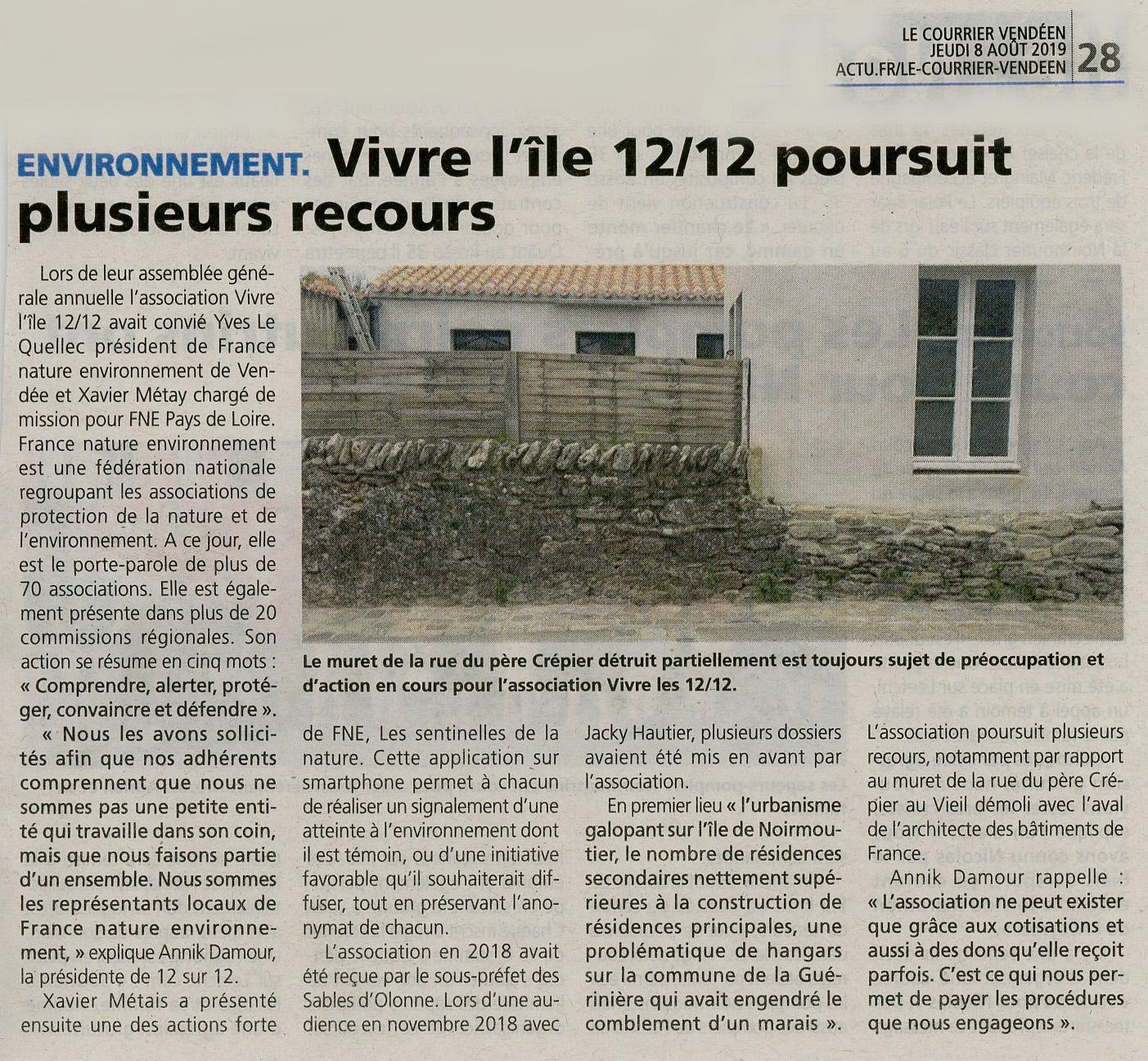 Courrier Vendéen du 8.08.19 AG de Vivre l'Ile - ses actions